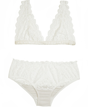 Lonely Ivory Lace Galloon Bra Set