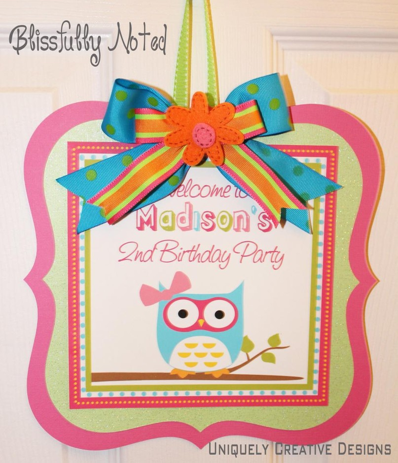"Girly Owl 10"" Birthday Door Sign 