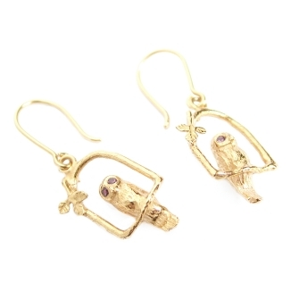Owl Arch Earrings with Stone Set Eyes