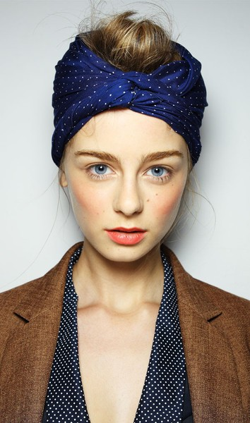 clothes + gems + bits / Karen Walker blush, coral lips, and a turban on top