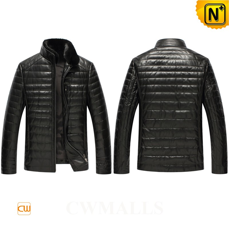 Quilted Leather Down Jacket with Fur Collar CW846025