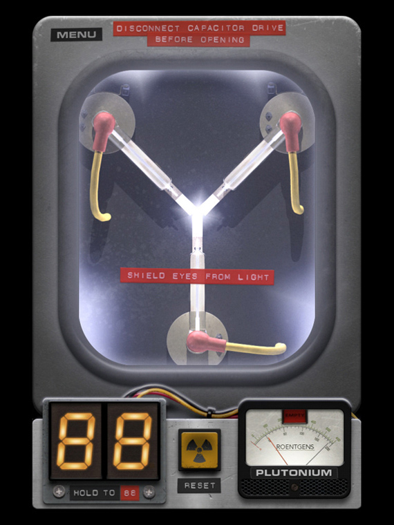 To the future pocketable back to the future flux capacitor iphone app