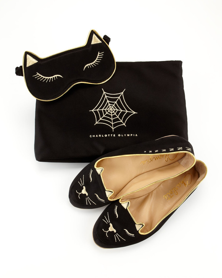 Charlotte Olympia Satin Kitty Slippers & Eye Mask Set, Black - Neiman Marcus
