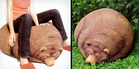 Big Sleeping Grizzly Bear Bean Bag by chicsindesigndotcom on Etsy