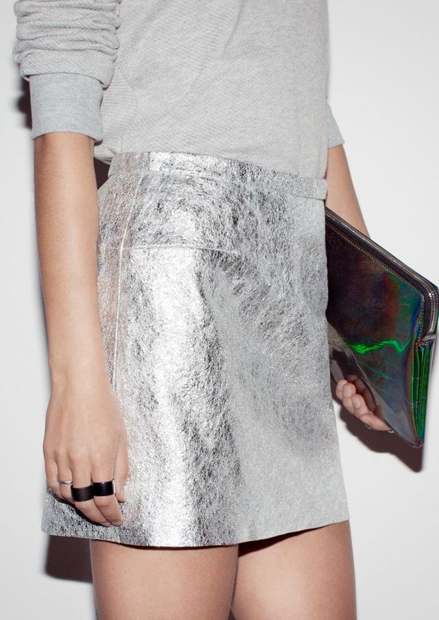 silver skirt and sweater | Style inspiration S/S | Pinterest