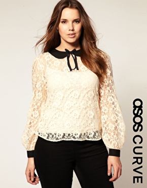 【LASO ラソ】【国内発送】【ASOS エーソス】CURVE Lace Top With Binding 円高還元/安心の国内発送/関税・送料込価格