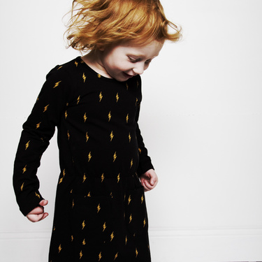 MINI RODINI - LIGHTNING DRESS BLACK/YELLOW