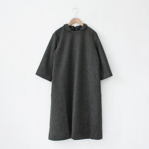 Lin francais d'antan Wool Round Collar One-piece〈Baudry〉/ Grey - taste&touch ウェブショップ