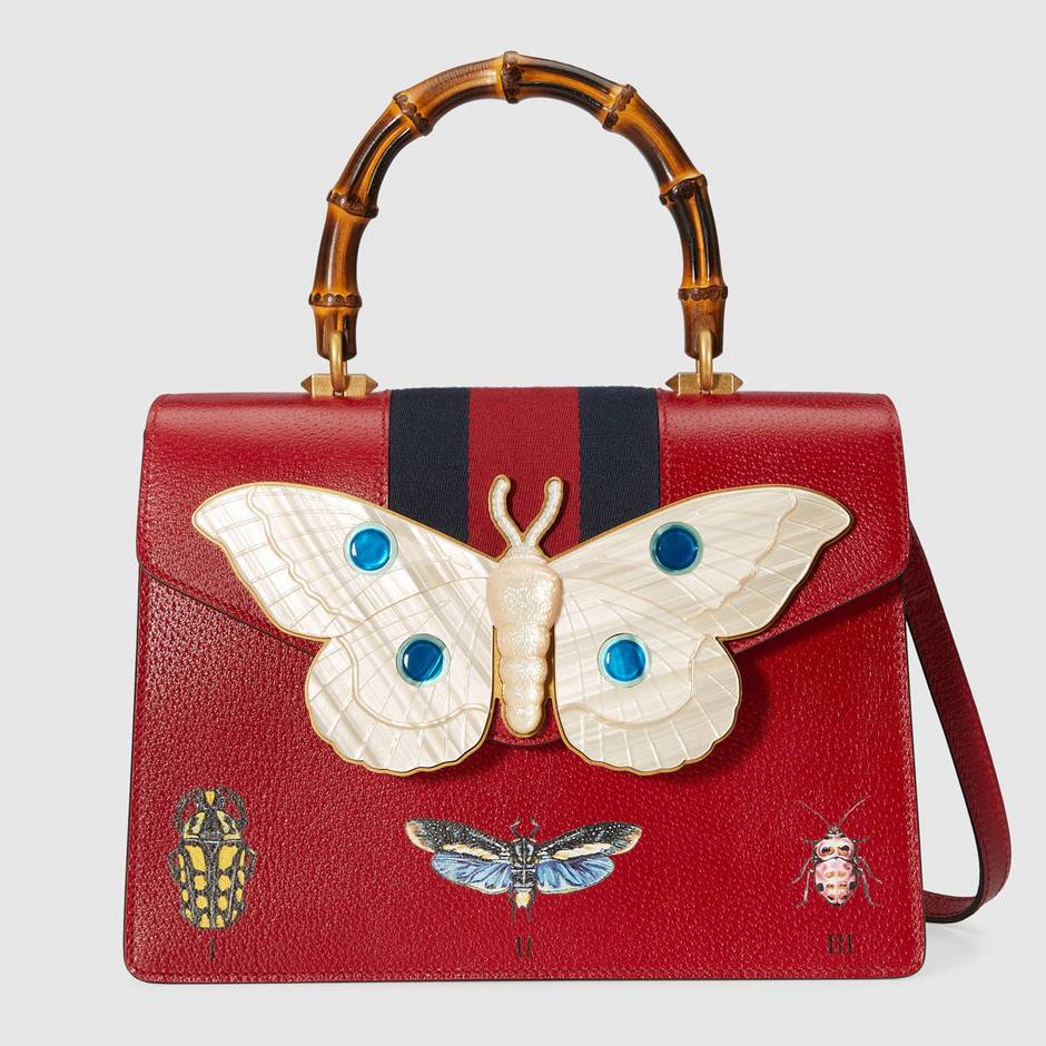 Leather top handle bag with moth - Gucci Top Handles & Boston Bags 4886910FG1T6441
