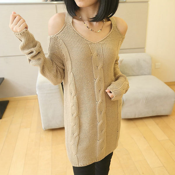 [grxjy560650]Thicken Strapless Crochet Fashion Sexy Sweater Pullover / pgfancy- fashion online shopping mall