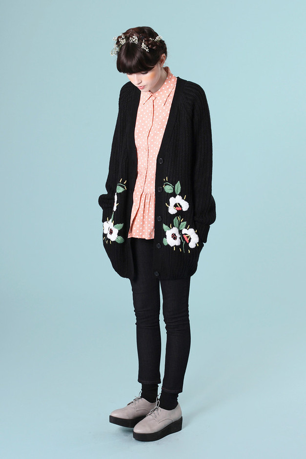 Embroidery Detail Cardigan Black - THE WHITEPEPPER