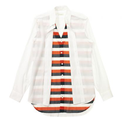 セレクトショップTIURF通販/DRIES VAN NOTEN : CARNELL SHIRT 2544 001 WHITE-RED BOREDER LAYERED 2012SS通販正規取扱店TIURF