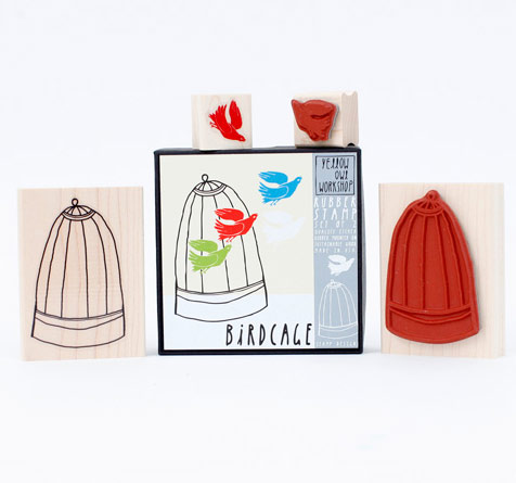 Yellow Owl Workshop Bird and Cage Stamp Set