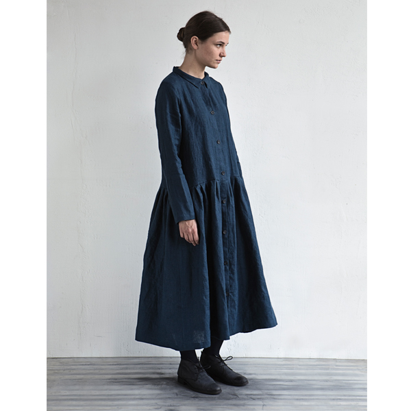 Bright Indigo Dress with Collar and Buttons in Front - MUKU