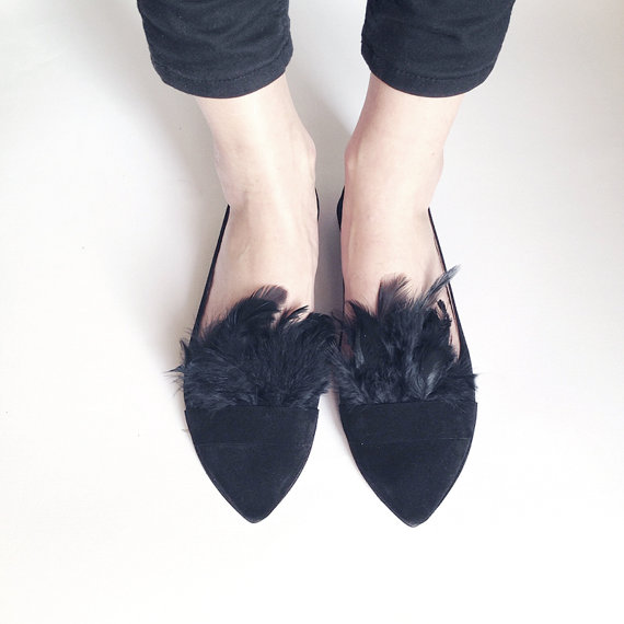 Pointy Chic Black Feathers Handmade Leather Loafers by elehandmade