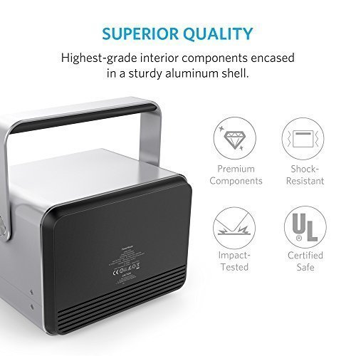 [New Release] Anker PowerHouse, The Most Compact 400Wh Portable Generator, Clean and Silent DC / AC Power Inverter, 12V Car, AC and USB Outputs, Recharges via AC or Solar for Camping, Emergency Backup
