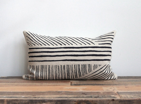 Hand printed lumbar pillow cover in black by ChaneeVijayTextiles