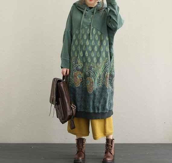 cotton Long hooded Dresses winter T-shirt dress bottoming | Etsy