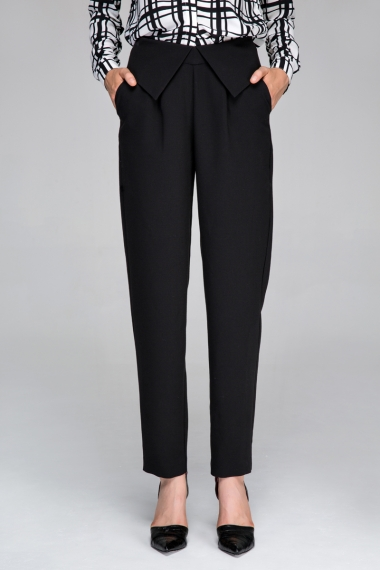Trousers in straight leg with cuffed waist - FrontRowShop