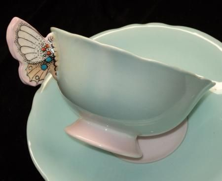 PARAGON BUTTERFLY HANDLE TEA CUP AND SAUCER BLUE