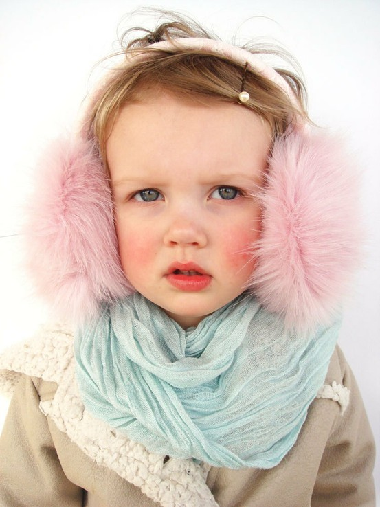 design / Pink Kids Earmuffs, headpiece, pink ear muffs, children accessory, gift for toddler girl