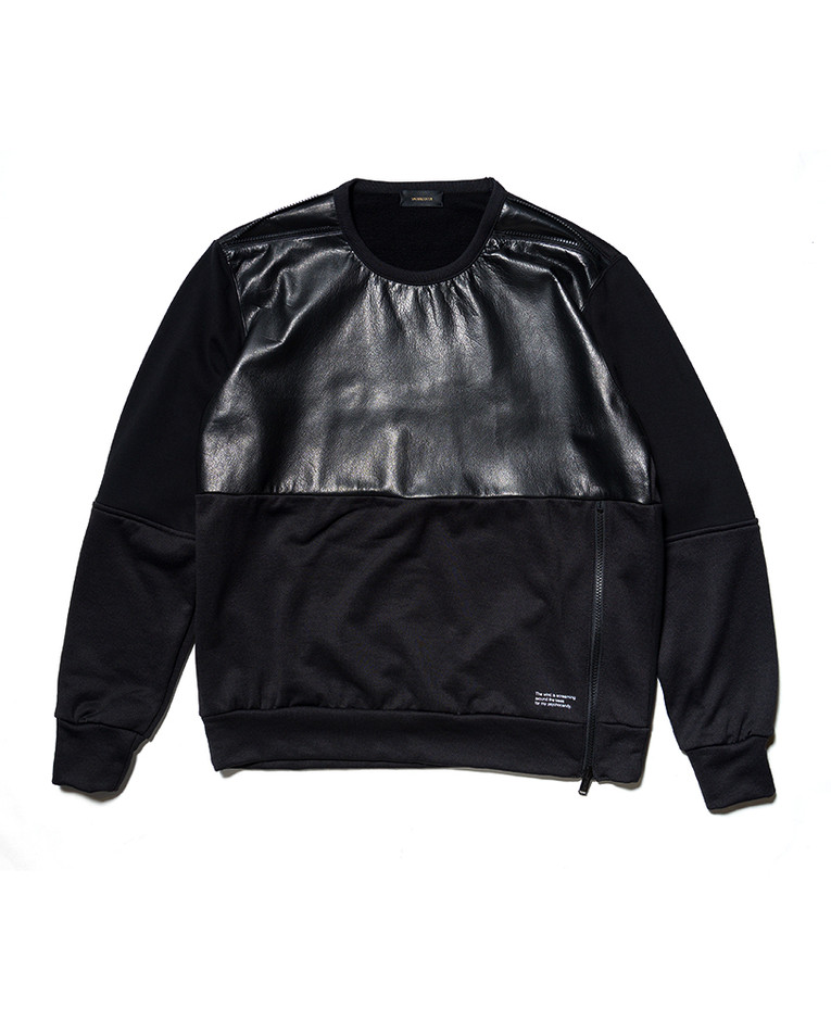 Black Leather Panel Sweater   Obscura