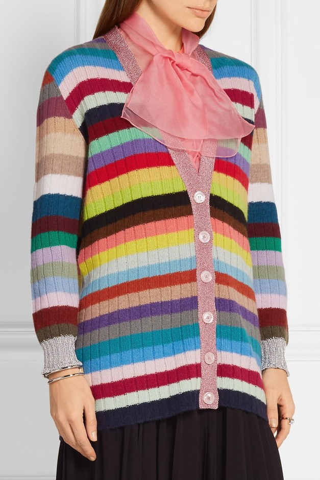Gucci | Metallic-trimmed striped cashmere and wool-blend cardigan | NET-A-PORTER.COM