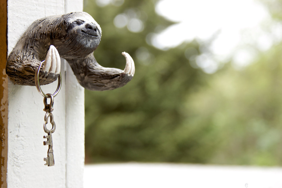 A Sloth to Hold Your Keys Wall Mountable Double by CuriousBurrow