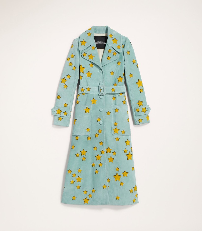 Suede Trench Coat With Star Applique