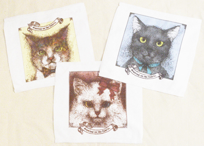 リボンの猫 ミニタオル - drawing on the fabric. - online store -