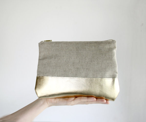 BOGO SALE Gold Leather Clutch Natural linen by SchickiMickis