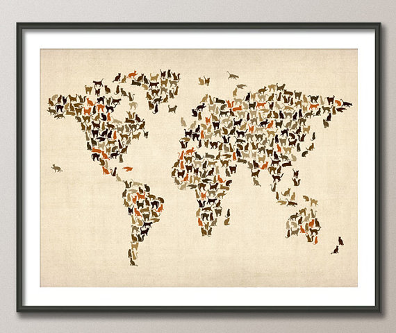Cats Map of the World Map Art Print 18x24 inch 180 by artPause