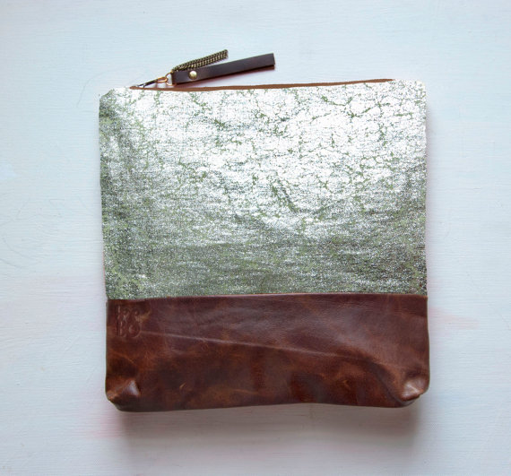 S I L V E R Metallic Leather Clutch Large Make by GiftShopBrooklyn