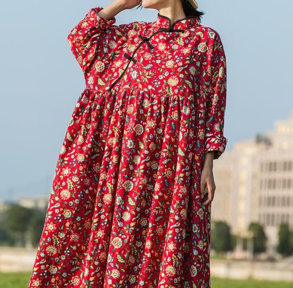 Cotton Oversized Loose Fitting in red maxi dress long | Etsy