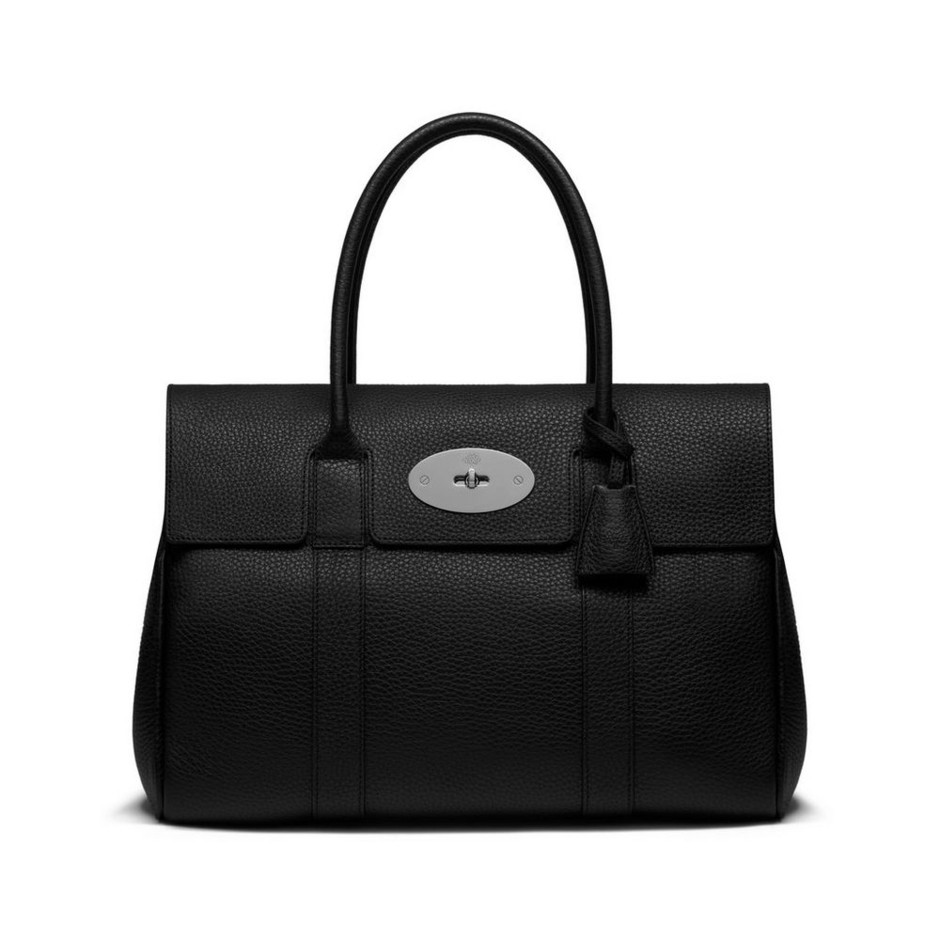 Bayswater in Black Soft Grain With Silver Tone   Bayswater   Mulberry