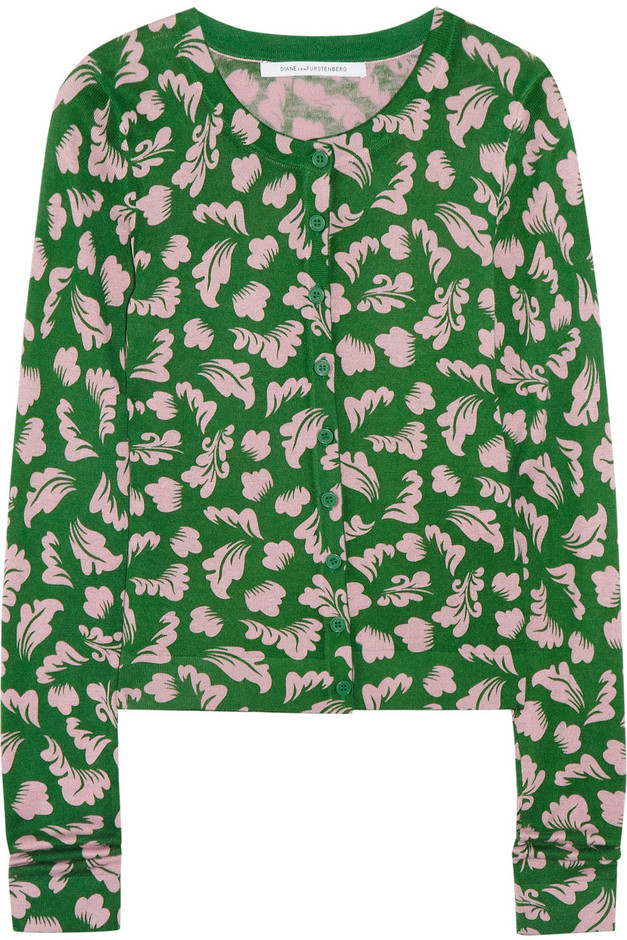 Diane von Furstenberg Ibiza printed silk and cashmere-blend cardigan - 50% Off Now at THE OUTNET
