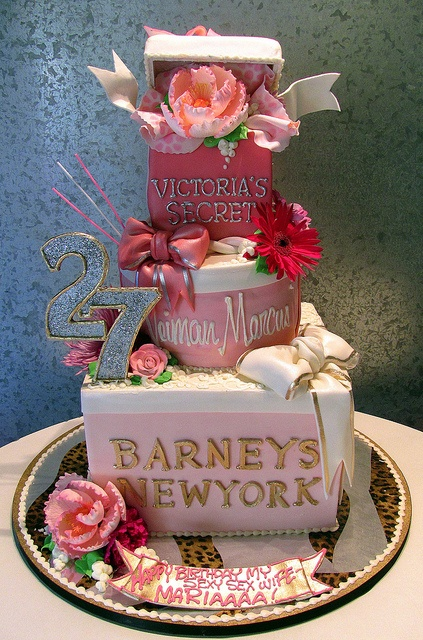 It's too pretty to eat! / Shopper Wife Cake~ tiered cake as designer store boxes~Victoria's Secret, Neiman Marcus, Barneys