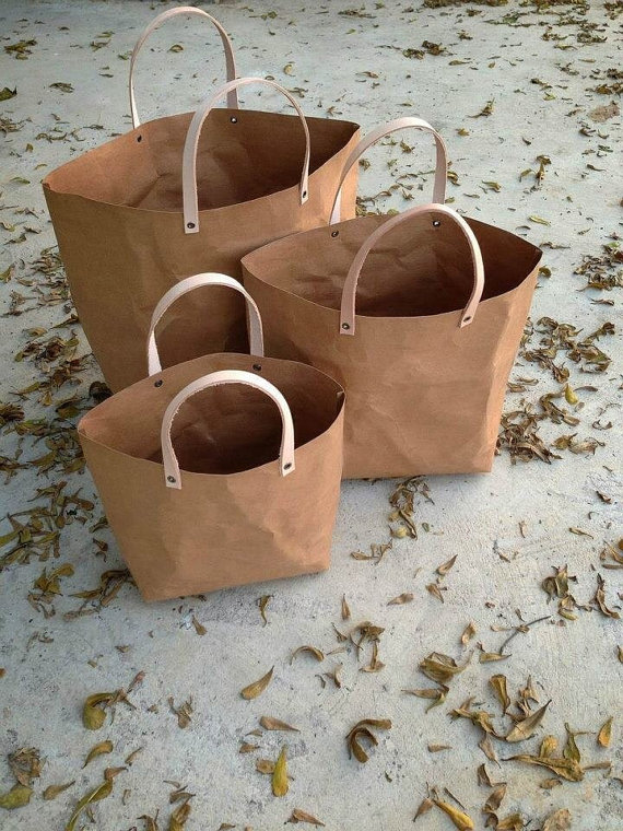 Kraft fabric paper tote bag set by Belltastudio on Etsy