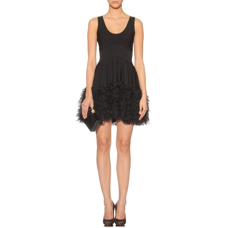 mytheresa.com - Alexander McQueen - BLACK STRETCH DRESS WITH TIERED RUFFLE TRIM - Luxury Fashion for Women / Designer clothing, shoes, bags