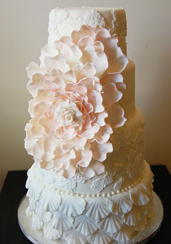 Elegant Cakes / Pale Yellow Lace Wedding Cake & Large Pink Flower