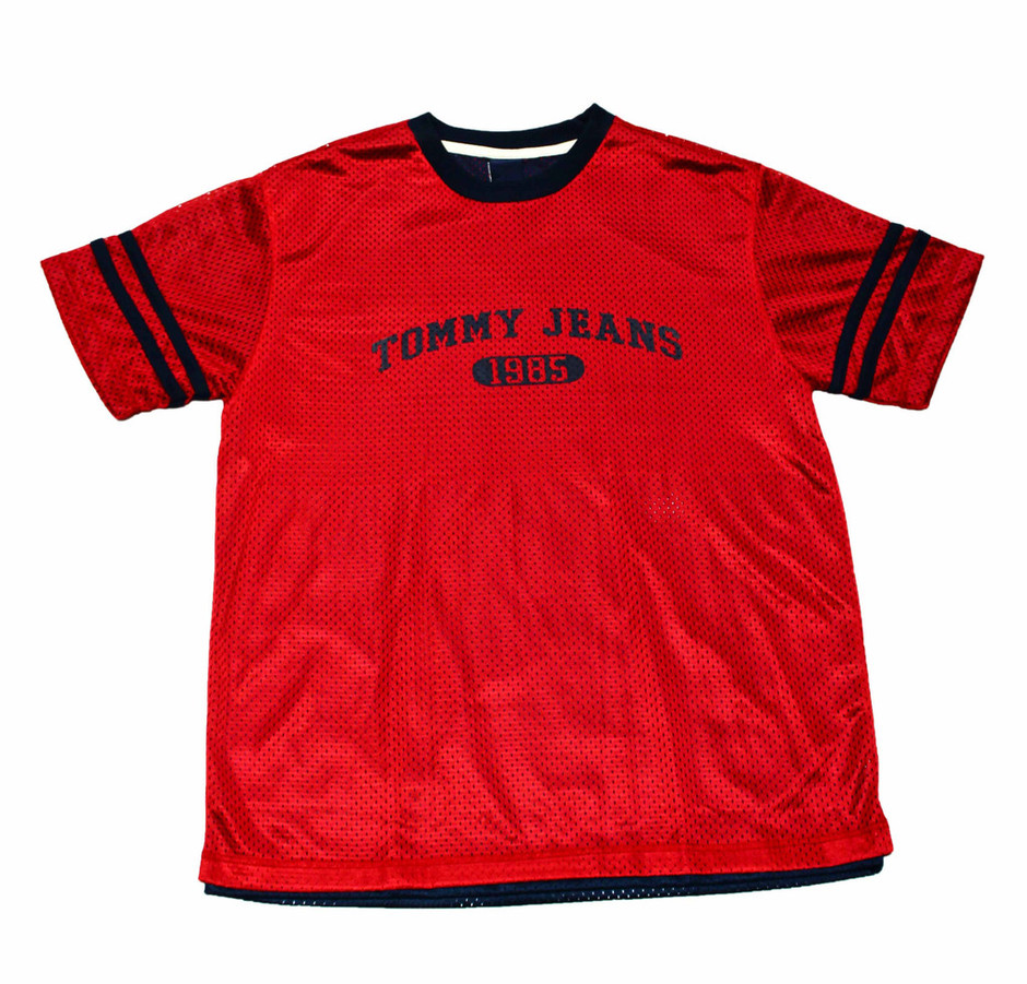 Vintage 90s Tommy Jeans Red/Navy Jersey Shirt Mens Size Large | Vintage Mens Goods