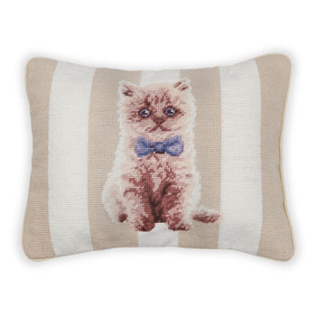Petit Point Kitten Cushion - Cushions - BEDROOM - United Kingdom