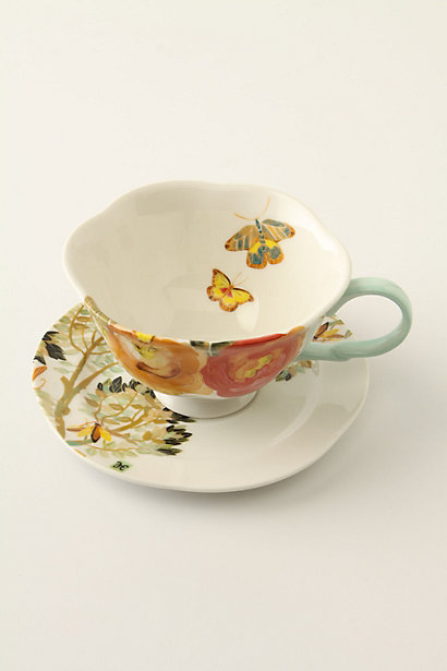 Watercolor Petals Cup & Saucer - Anthropologie.com