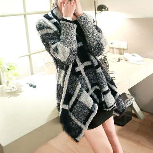 lulula-fashion shopping mall — [ghyxh3600857]New Fall Black White Celebrities Women Knitted Wide Lapel Cardigan Coat