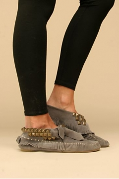 【LASO ラソ】【雑誌掲載!】Jeffrey Campbell  Studded Cross Stitch Moccasins (grey) Jeffrey Campbell   スタッズモカシン