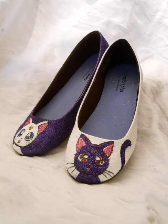 Sailor Moon Artemis and Luna Glitter Shoes by aishavoya on Etsy