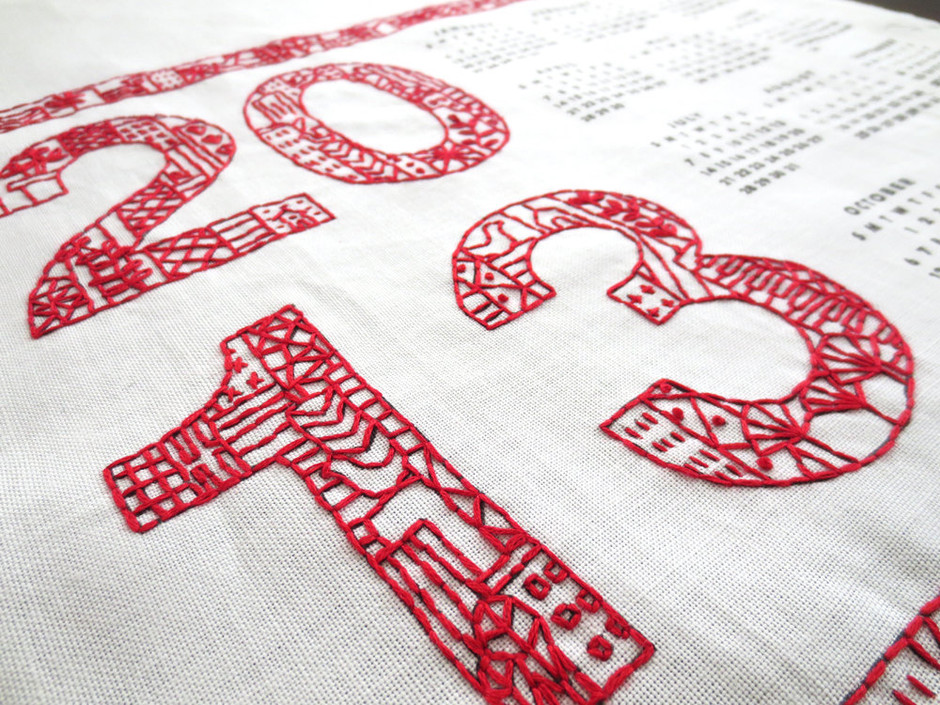 DIY Embroidery Kit 2013 Tea Towel Calendar by CuriousDoodles