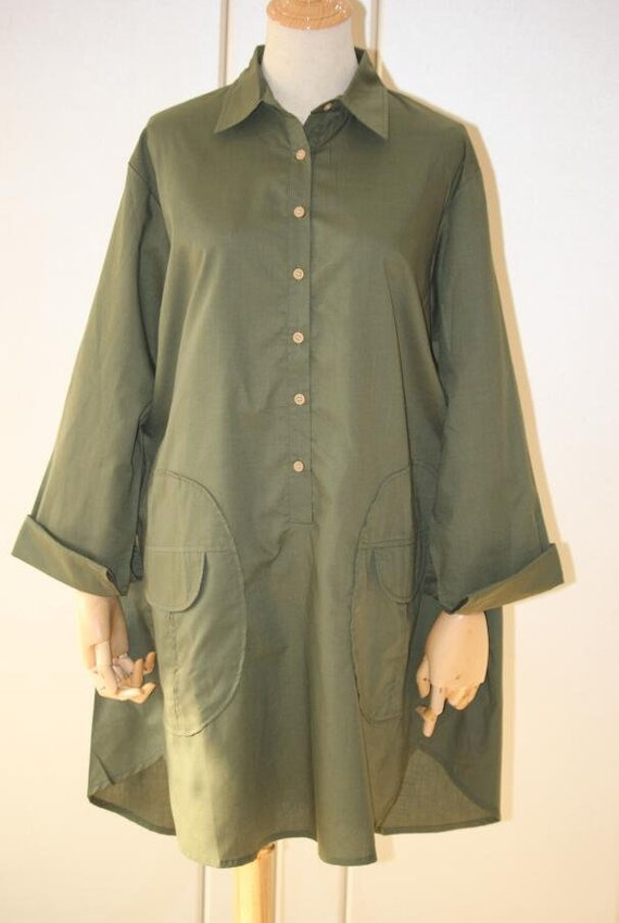 Women Loose Fitting shirt army green shirt Cotton Blouse for | Etsy