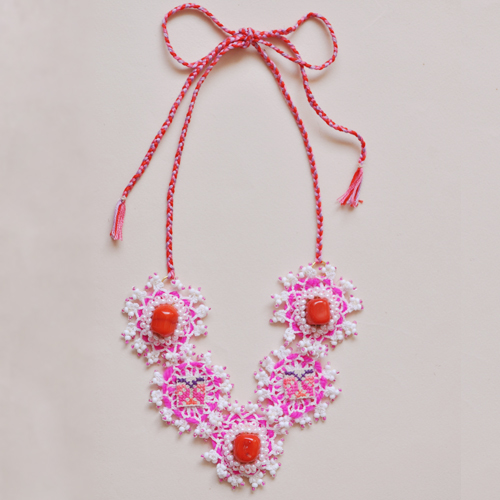Fushia and bamboo necklace by Emma Cassi (handmade lace jewellery) – Emma Cassi