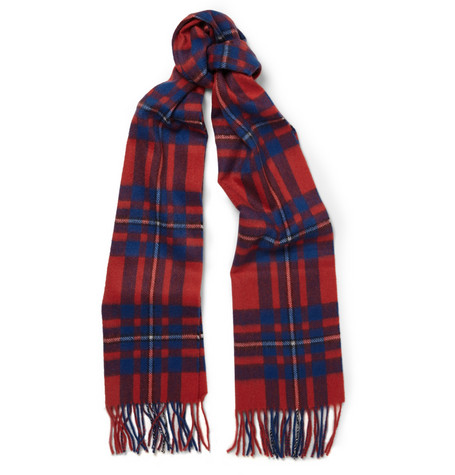 J.Crew - Brilliant Flame Checked Cashmere Scarf | MR PORTER